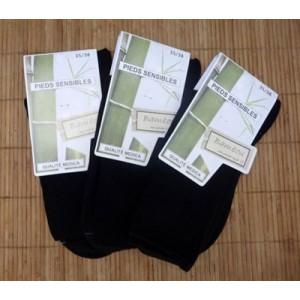 Chaussettes en bambou jambes sensibles (3 paires) - noir